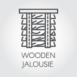 Simple line logo of wooden jalousie. Label for home and office interior design concept Royalty Free Stock Photo
