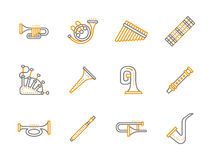 Simple line musical instruments icons set Stock Photo