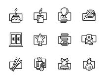 Simple line New Year decor icons Stock Photos