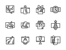 Simple line New Year icons set. Set of black simple line style icon for New Year and Christmas. Winter holidays. Party and celebration symbols. Design elements Stock Photography