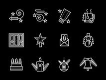 Simple line New Years icons set. Winter holidays decor and items. Xmas celebration, New Year event. Set of simple style white icons on black background. Elements Royalty Free Stock Photography