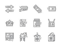 Simple line online commission store icons Stock Photography