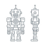Simple Line Retro Robot Stock Image