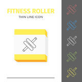 Simple line stroked handle fitness roller vector icon. Simple thin line stroked fitness handle roller vector isolated sport icon. Concept of healthy still life Royalty Free Stock Images