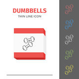 Simple line stroked two of dumbbells vector icon Royalty Free Stock Photography
