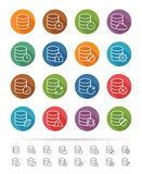 Simple line style : Database & Data Connection icons set - Vector illustration Stock Image
