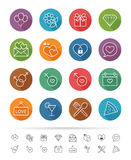 Simple line style : Dating & Valentine icons set - Vector illustration Stock Images