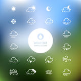 Simple line weather icon set on blurred landscape background. Ve Royalty Free Stock Photography