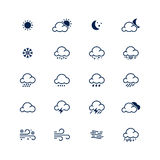 Simple line weather icon set. Vector illustration. Meteorology s Royalty Free Stock Photo