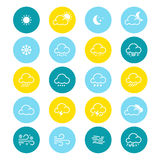 Simple line weather icon set. Vector illustration. Meteorology symbol. Stock Images
