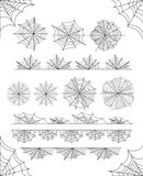 Set of cobweb design on white background stock illustration