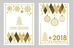 Geometric white and golden Merry Christmas and Happy New Year cards. Snowflakes, fir tree, festive decorations. Simple linear design for cards, invitations Royalty Free Stock Images
