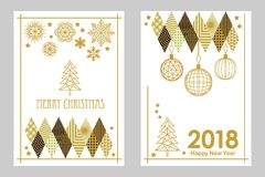Geometric white and golden Merry Christmas and Happy New Year cards. Snowflakes, fir tree, festive decorations. Simple linear design for cards, invitations Royalty Free Stock Photos