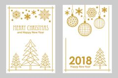 Geometric white and golden Merry Christmas and Happy New Year cards. Snowflakes, fir tree, festive decorations. Simple linear design for cards, invitations Royalty Free Stock Image