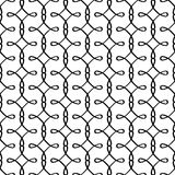 Simple linear filigree pattern. Vector black and white ornamental background Royalty Free Stock Photo