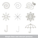 Simple lines with relevant pictures. Royalty Free Stock Images