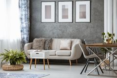 Beige couch and fern. Simple living room with beige couch, white stool and fern on rattan pouf near the window Royalty Free Stock Photography