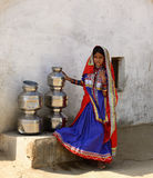 Simple living in the village on the desert in Gujarat Stock Image