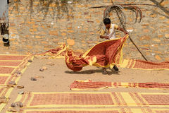 Simple living in the village on the desert in Gujarat Stock Photos