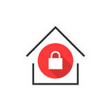 Simple locked house icon Stock Image