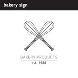 Simple logo for a bakery or confectionery, as between crossed  Royalty Free Stock Photo