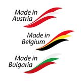 Simple logos Made in Austria, Made in Belgium and Made in Bulgar. Ia, vector logos with Austrian, Belgian and Bulgarian flags Vector Illustration