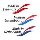 Simple logos Made in Denmark, Made in Luxembourg. And Made in Netherlands, vector logos with Danish, Luxembourgish and Dutch flags Stock Illustration