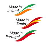 Simple logos Made in Ireland, Made in Spain, Made in Portugal. Vector logos with Irish, Spanish and Portuguese flags Royalty Free Illustration