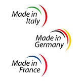 Simple logos Made in Italy, Made in Germany and Made in France. Vector logos with Italian, German and French colors Stock Images