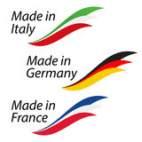 Simple logos Made in Italy, Made in Germany and Made in France. Vector logos with Italian, German and French flags Royalty Free Stock Photos