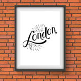 Simple London Message on a White Picture Frame Stock Image