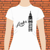 Simple London Shirt with Big Ben Tower Design Royalty Free Stock Photography