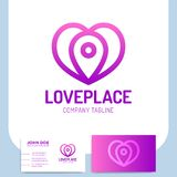 Simple love hear place logo or pin navigation icon template designs.  royalty free illustration