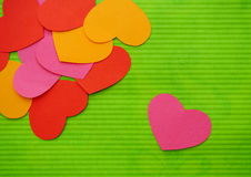 Simple love heart near hearts union. Single abstract simple love heart near hearts union composition background. Paper cutout. Colorful Cartoon Stock Image
