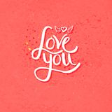 Simple Love You Concept with Winged Heart Stock Images