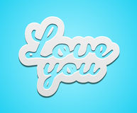 Simple love you text badge Stock Photo