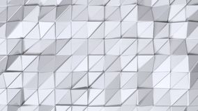 Simple low poly 3D surface as transforming environment. Soft geometric low poly background of pure white grey polygons stock video footage