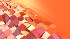 Simple low poly 3D surface as transforming environment. Soft geometric low poly motion background of shifting pure pink stock footage