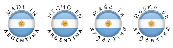 Simple Made in Argentina / Spanish translation 3D button sign. T royalty free illustration