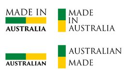 Simple Made in Australia / Australian label. Text with national. Colors arranged horizontal and vertical stock illustration