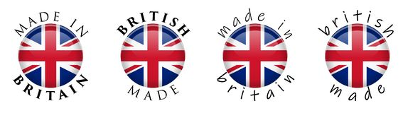 Simple Made in Britain / British 3D button sign. Text around cir. Cle with Union Jack flag. Decent and casual font version vector illustration