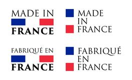 Simple Made in France and French translation label. Text with vector illustration