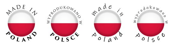 Simple Made in Poland / Wyprodukowano w Polsce Polish translati. On 3D button sign. Text around circle with national flag. Decent and casual font version vector illustration