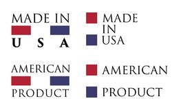 Simple Made in USA / American Product label. Text with national stock illustration