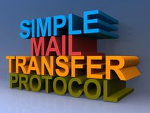 Simple mail transfer protocol. Colorful 3D block letters spelling simple mail transfer protocol on purple background Royalty Free Stock Photos