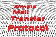 Simple mail transfer protocol. In the form of binary code, 3D illustration Stock Photography