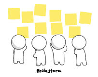 Mr.Simple in Brainstorm Action. Simple man demonstrates brainstorm process using post-it Royalty Free Stock Image