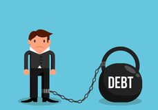Simple Man in Debt Confined to Heavy Weight Flat Design. Financial burden and responsibility concept Royalty Free Stock Photos