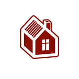 Simple mansion vector icon isolated on white background, abstrac Stock Photo