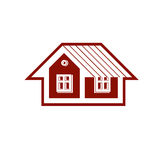 Simple mansion vector icon isolated on white background, abstrac Royalty Free Stock Images
